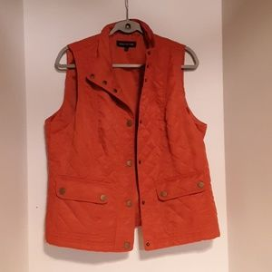 JONES New York Women Puffer Vest Large Orange